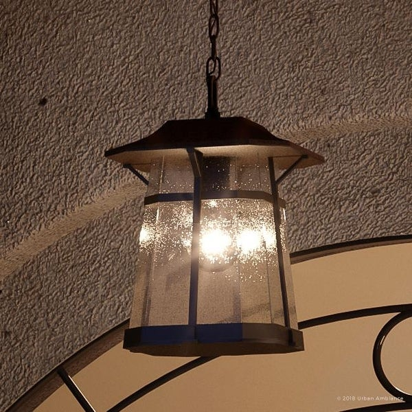 Shop Luxury Rustic Outdoor Pendant Light 12 375 Quot H X 8 5 Quot W With Craftsman Style Elements