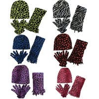 Women 6 Pack Cheetah Print Winter Glove, Beanie, Scarf Set  - One Size