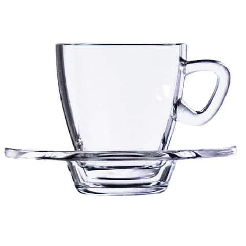 American Set Espresso Cups Glasses with Saucers, Set of 6