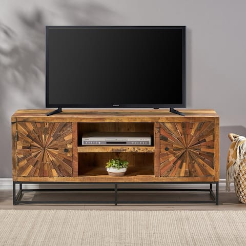 Orem Handcrafted Boho Wooden TV Stand by Christopher Knight Home