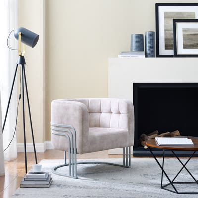 Corvus Hernals Velvet Tufted Curved Back Barrel Accent Chair