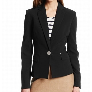 Anne Klein NEW Deep Black Womens Size 10 One Button Two-Pocket Blazer