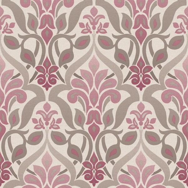 Brewster 2535-20645 Fusion Purple Ombre Damask Wallpaper - N/A