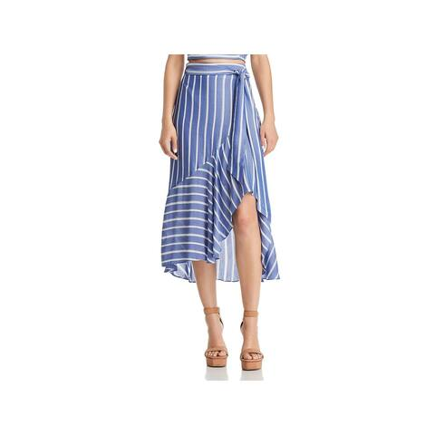 Lucy Paris Womens Sophie Midi Skirt Ruffled Hi-Low