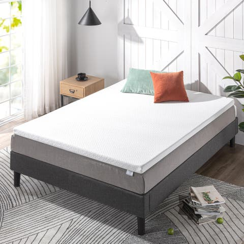 Priage by ZINUS 2 Inch Ultra Cool Gel Memory Foam Mattress Topper with Cooling Cover - White