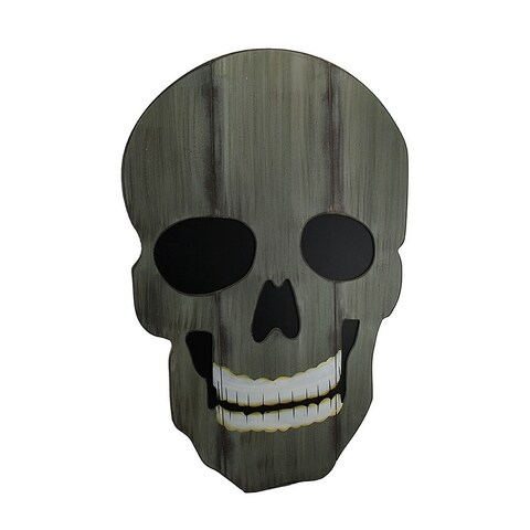 Creepy Distressed Finish Giant Skull Wood Wall Hanging w/Easel Stand 26 in. - 26 X 12 X 19 inches