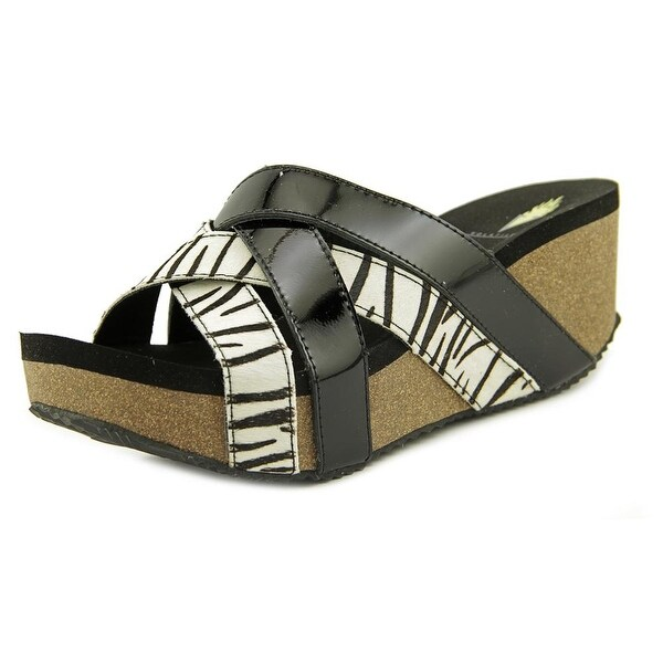 Volatile Satine Women Open Toe Leather Black Wedge Sandal