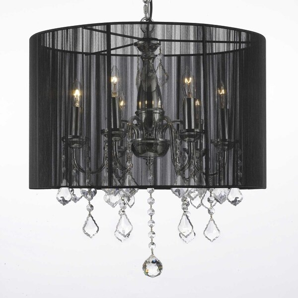 Crystal Swag Plug In Chandelier Lighting With Shade & 14\' Feet Of ...