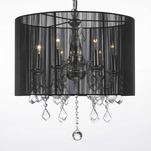 Crystal Swag Plug In Chandelier Lighting With Shade & 14' Feet Of Hanging Chain & Wire