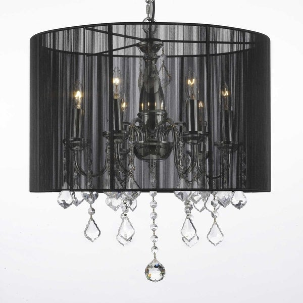 Crystal Swag Plug In Chandelier Lighting With Shade 14 Feet Of Hanging Chain Wire On Free Shipping Today 11735028