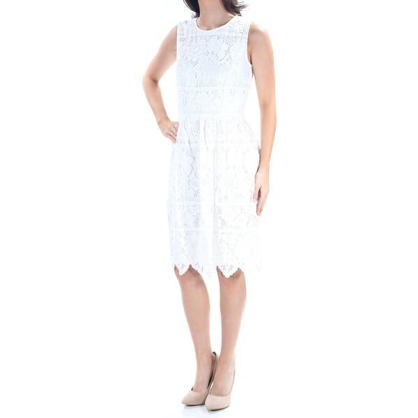 4507033fb07f Shop TOMMY HILFIGER Womens White Lace Sleeveless Jewel Neck Knee Length A-Line  Cocktail Dress Size: 6 - Free Shipping On Orders Over $45 - Overstock - ...