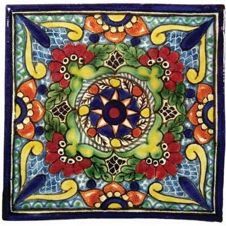 "Native Trails TVR0231 Talavera Tile 4"" W x 4"" H Hand Painted Geraniums Tile - N/A"