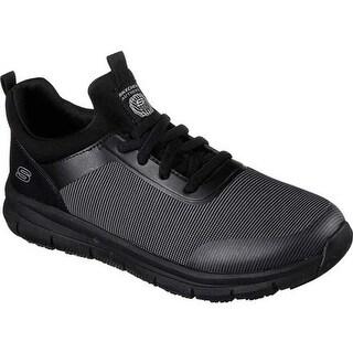 Skechers Men's Work Relaxed Fit Wishaw Slip Resistant Sneaker Black/Charcoal