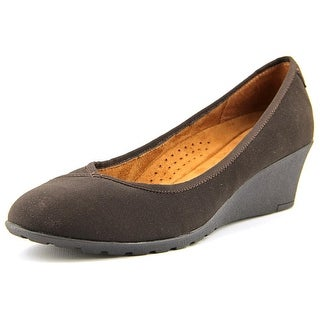 Hush Puppies Sabrina Rowley Women Open Toe Canvas Brown Wedge Heel