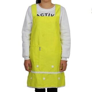 Household Polyester Flower Decor Anti-wear Baking Apron Bib Dress Green Yellow