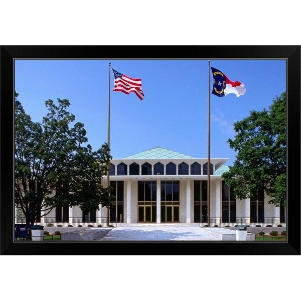 """Exterior of State Legislature Building."" Black Framed Print"