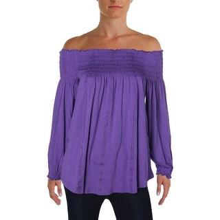 Lauren Ralph Lauren Womens Blouse Off-The-Shoulders Smocked