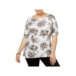 Karen Scott Womens Plus Casual Top Floral Print Boat Neck