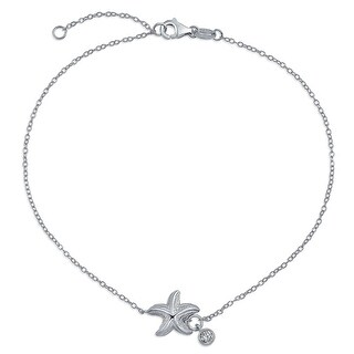 Bling Jewelry 925 Silver Solitaire CZ Charm Nautical Starfish Anklet 9in