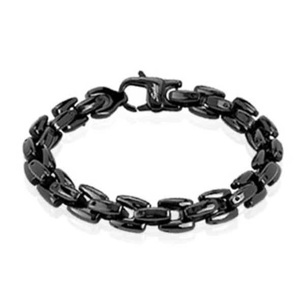 Stainless Steel Black Plated Scale Link Bracelet - 8.75 Inches (9 mm) - 9 in