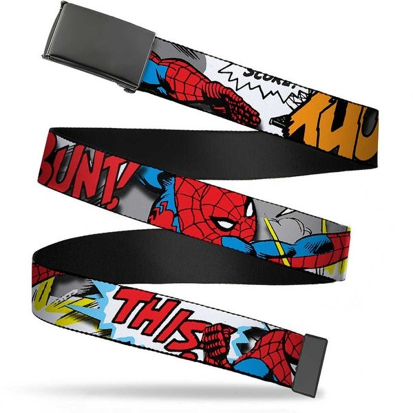 Marvel Comics blank Black Buckle Spider Man W Action Verbiage Webbing Web Belt