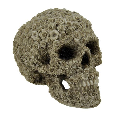 Late Bloomer Flower Covered Human Skull Statue - 5.5 X 7.25 X 5 inches
