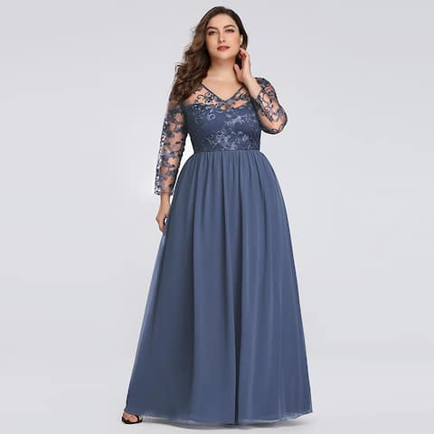 Ever-Pretty Womens Plus Size Lace Long Sleeve Evening Prom Formal Dress 76332