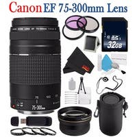 Canon EF 75-300mm f/4-5.6 III Telephoto Zoom Lens 6473A003 + 58mm 3 Piece Filter Kit + 32GB SDHC Class 10 Memory Card Bundle