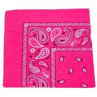 Unisex Fuchsia Classic Paisley Pattern Cotton Soft Scarf Hairband Bandana