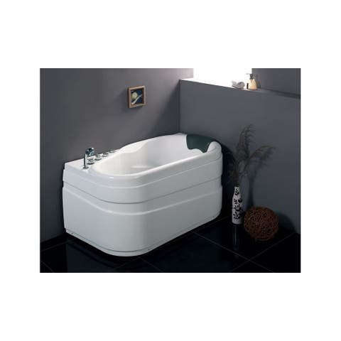 """Eago AM175-L 57-1/8"""" Acrylic Whirlpool Bathtub for Alcove Installations with Left Center Drain, Left Pump, and Included - White"""