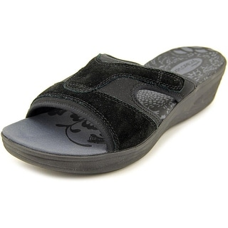 Easy Spirit Marvie Women WW Open Toe Leather Slides Sandal