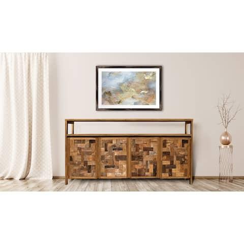 Chic Teak Recycled Teak Wood Mozaik Media Center / Buffet with 4 Wooden Doors