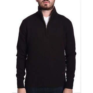 Valentino Men's Zip Neck Sweater Dark Brown
