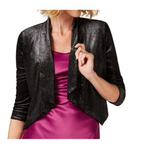 Donna Ricco Women's Sweater Black Size XL Velvet Shimmer Cardigan