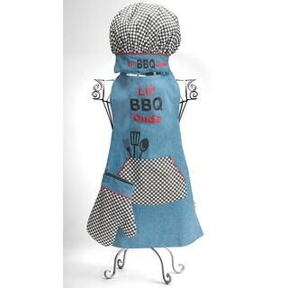 "3-Piece ""Lil' BBQ Dude"" Boy's Blue Denim Chef's Apron, Hat and Pot Holder Set"