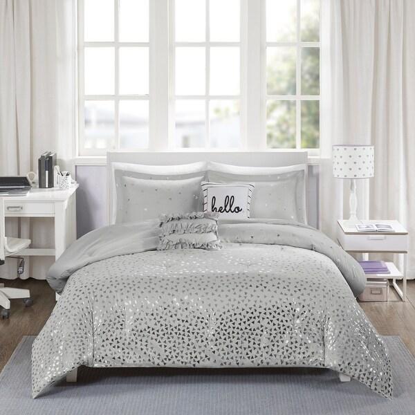 Liv Metallic Triangle Print Comforter Set by Intelligent Design. Opens flyout.