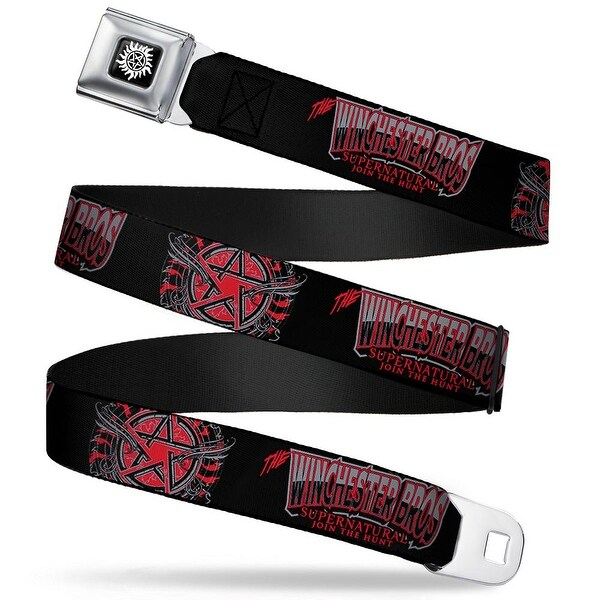Winchester Logo Full Color Black White The Winchester Bros Flaming Seatbelt Belt