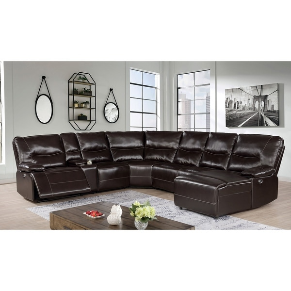 Furniture of America Yount Transitional Dark Brown Power Sectional. Opens flyout.
