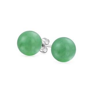 Bling Jewelry Dyed Aventurine Ball Stud earrings 925 Sterling Silver 10mm - Green