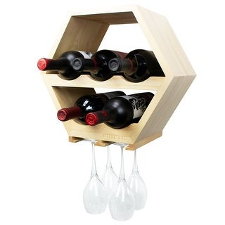 Atterstone Honeycomb Wine Rack with Hanging Stemware Holder, Wall Mounted Wine Bottle Display Rack