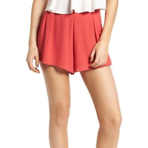 Lush Red Coral Womens Size Small S High Waist Pleated Swing Shorts