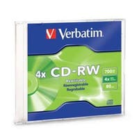 Verbatim CD-RW, 95117, 700MB, 2X-4X, Branded, 1PK Slim Case, TAA