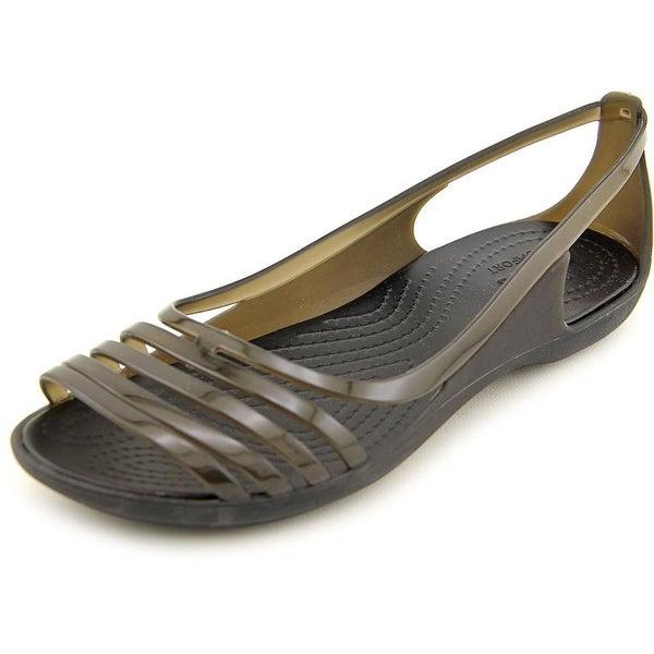 28a1f8a0e Shop Crocs Isabella Huarache Flat Women Peep-Toe Synthetic Black ...