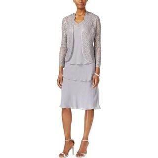 SLNY Womens Missy Dress With Jacket Chiffon Lace-Trim - 14