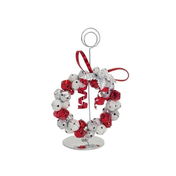 """Set of 3 Red, White and Silver Jingle Bell Name Card Holders 5.5"""" - RED"""