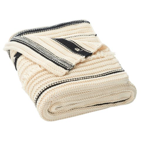 Safavieh Calyx 50 x 60-inch Cotton Fringe Throw Blanket
