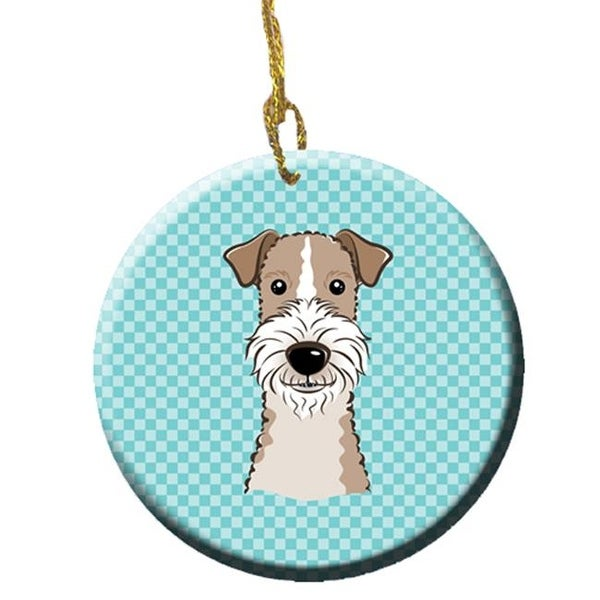 Checkerboard Blue Wire Haired Fox Terrier Ceramic Ornament, - Free ...