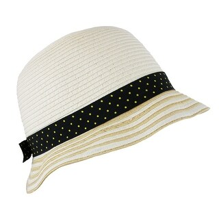 CTM® Girl's Nautical Straw Bucket Hat
