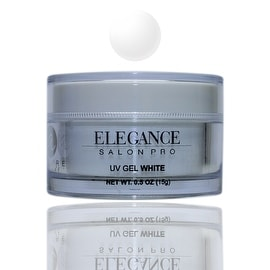 Elegance Salon Pro UV Gel White 0.5oz (15g) One Phase Professional Salon Quality Self-Levelling