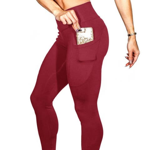 Women's Workout Running Leggings Yoga Pants With Side Pockets